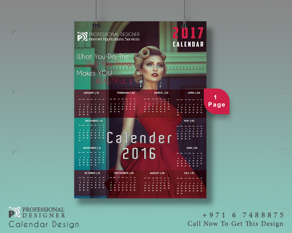 ready print calendar design for fashion designer copmanies